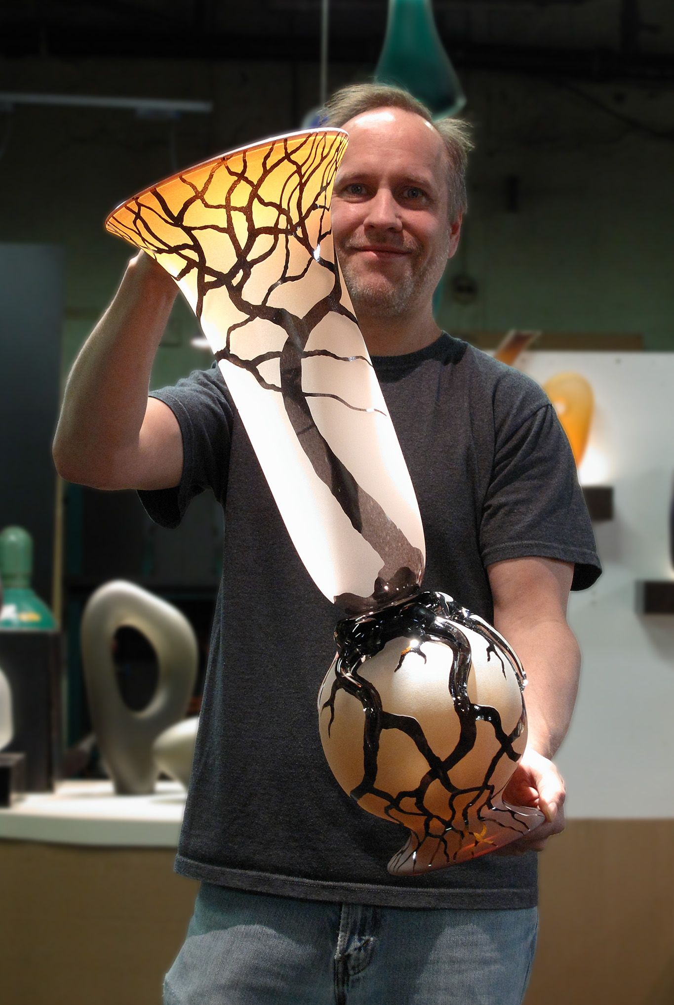 Bernard katz holding hand blown glass large root vase art glass tallest hand blown glass vase by bernard katz is the large root vase in sunset salmon reviewsmspy