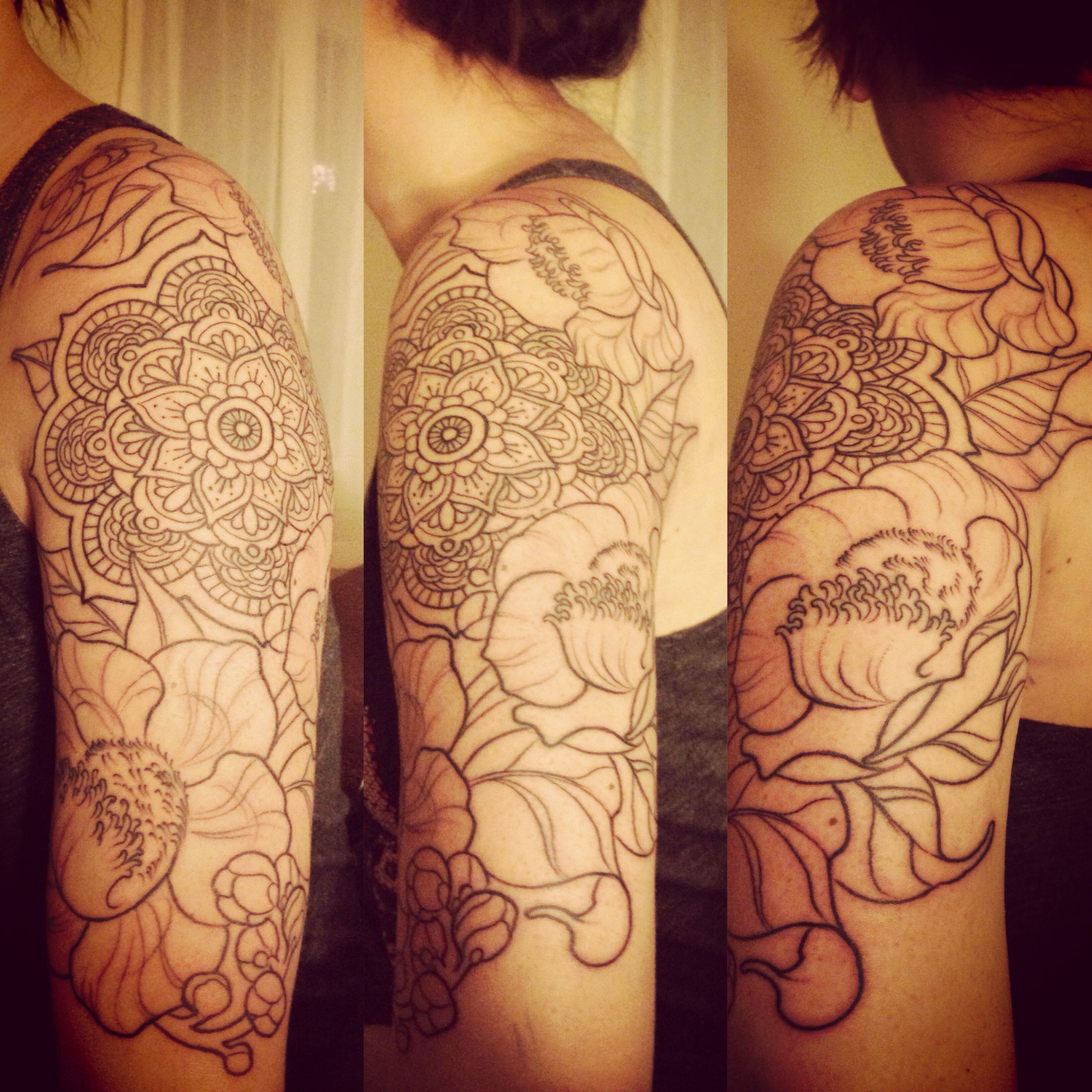 Flower Tree Tattoo: Mandala With Bodhi Leaves And Sal (cannonball) Tree