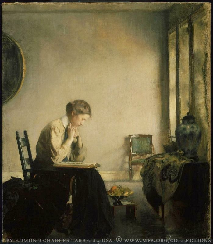 Girl Reading, 1909, by Edmund Charles TARBELL (Artist. USA 1862–1938) © MFA / Museum of Fine Arts BOSTON