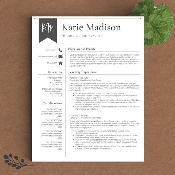 Teacher Resume Template for Word  Pages (1-3 Page Resume for