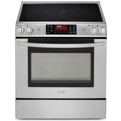 Lg Electronics 5 4 Cu Ft Slide In Electric Range With Self Cleaning Convection Oven In Stainless Steel Lse3090 Electric Range Slide In Range Convection Oven