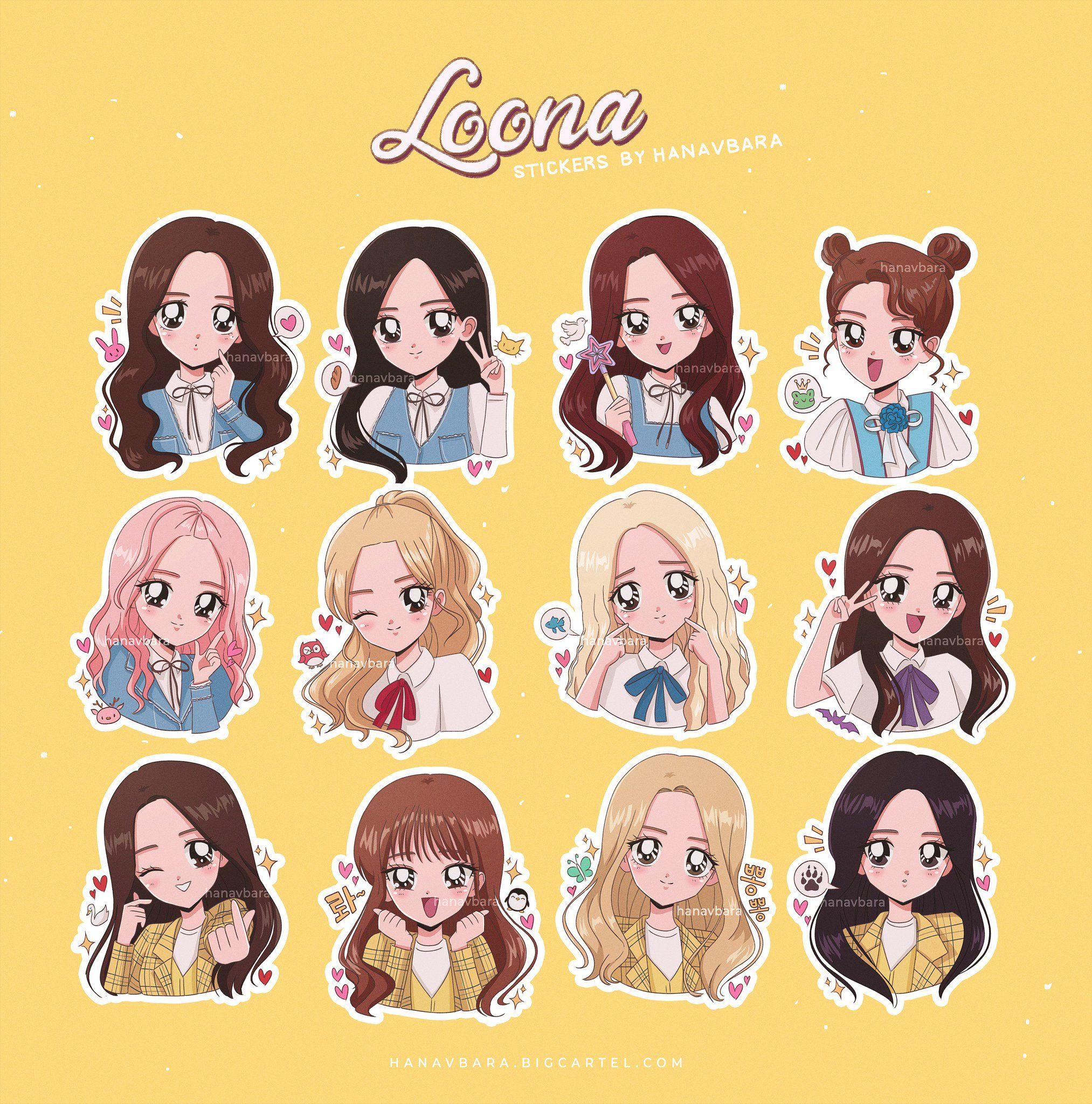 """on Twitter """"loona stickers 🌙… """" in 2020 Kpop fanart"""