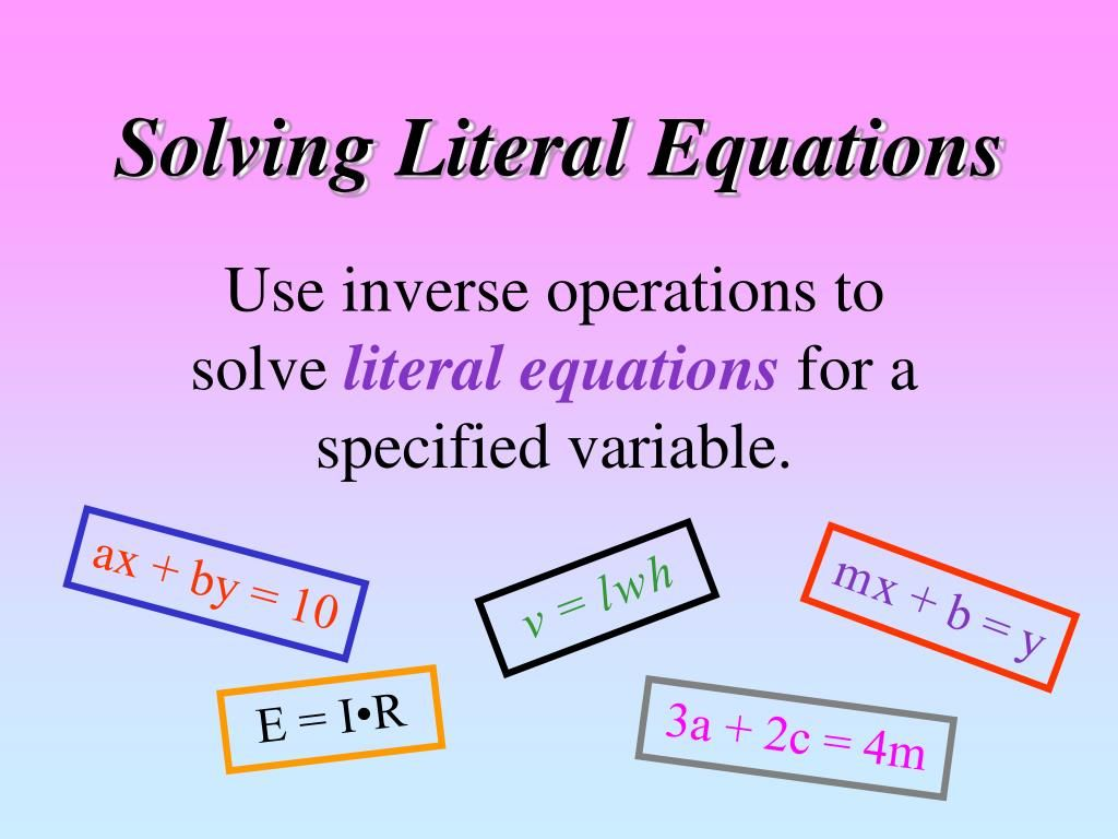 Literal Equation Math Definition