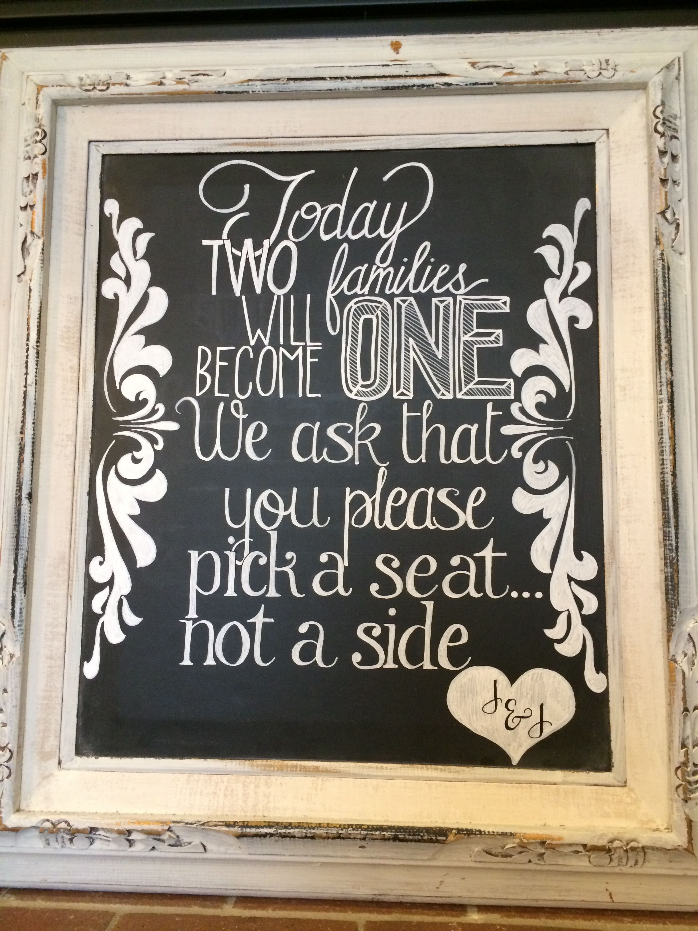 Wedding Chalkboard, Pick A Seat, Not A Side Chalk And