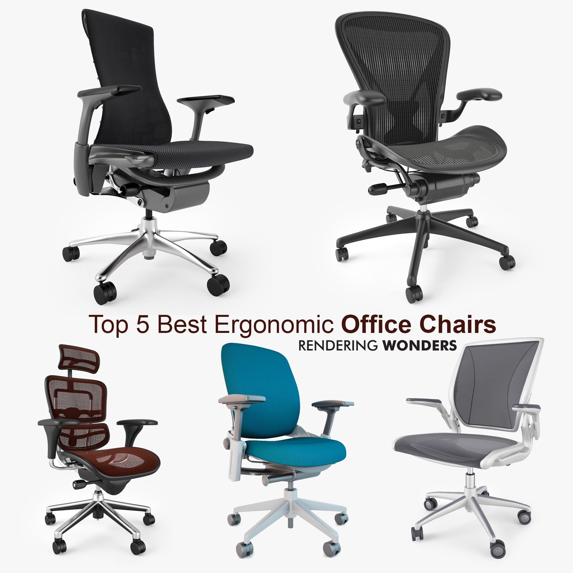 5 Best Ergonomic fice Chairs 3D Max 3D Model