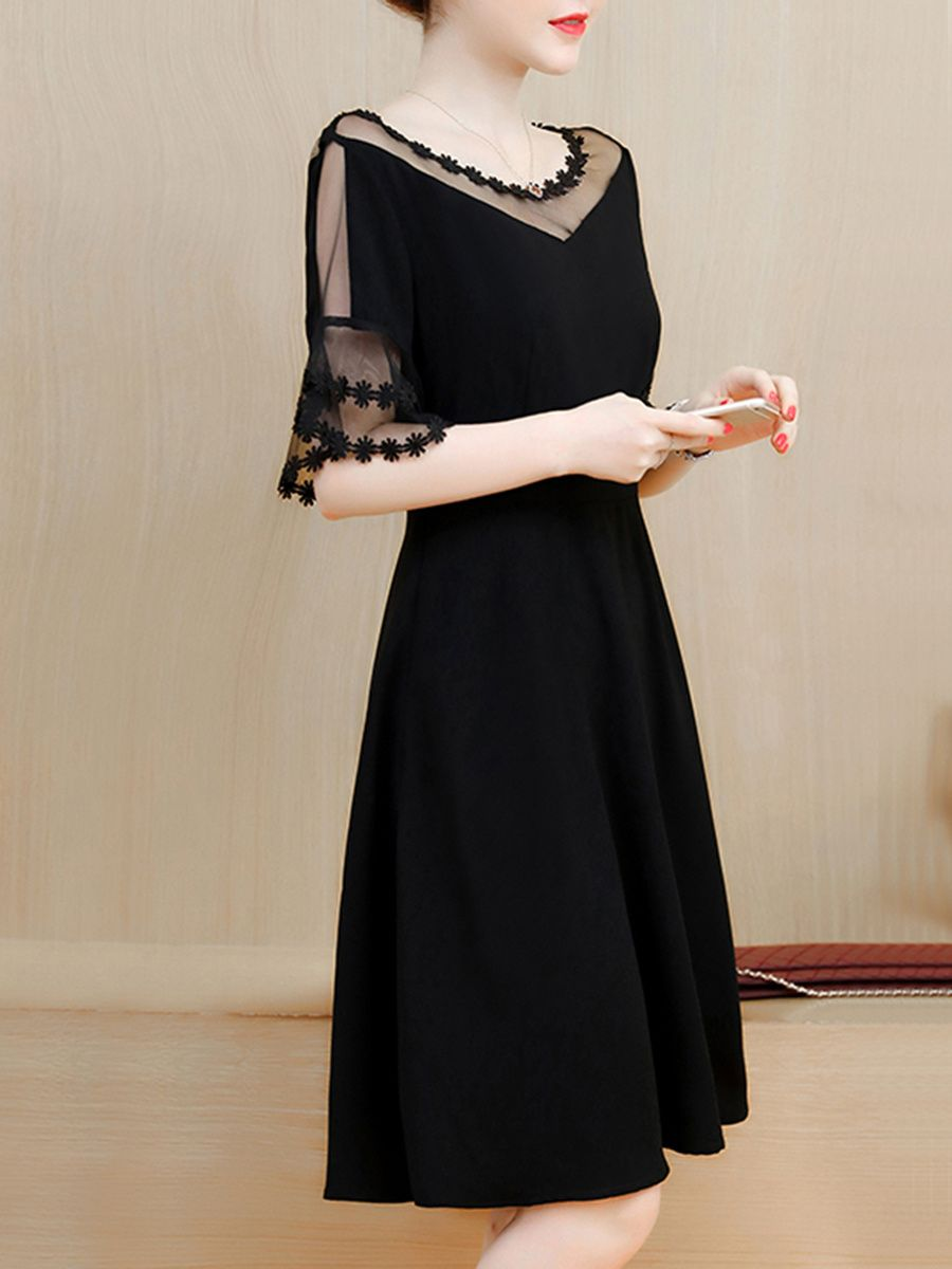 f7bfc7c6 Buy See-Through Solid Bell Sleeve Skater Dress In Black online with cheap  prices and discover fashion Skater Dresses at Fashionmia.com.