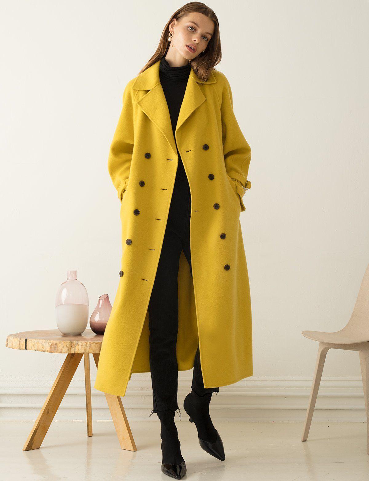 Yellow Wool Long Coat Long Wool Coat Yellow Coat Outfit Winter Coat Outfits