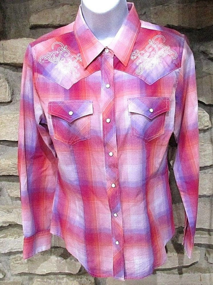 a9a23fd85 Cumberland Outfitters Pink Blue Plaid Western Shirt Size Small Snap Front  Cuffs #CumberlandOutfitters #Western #Casual
