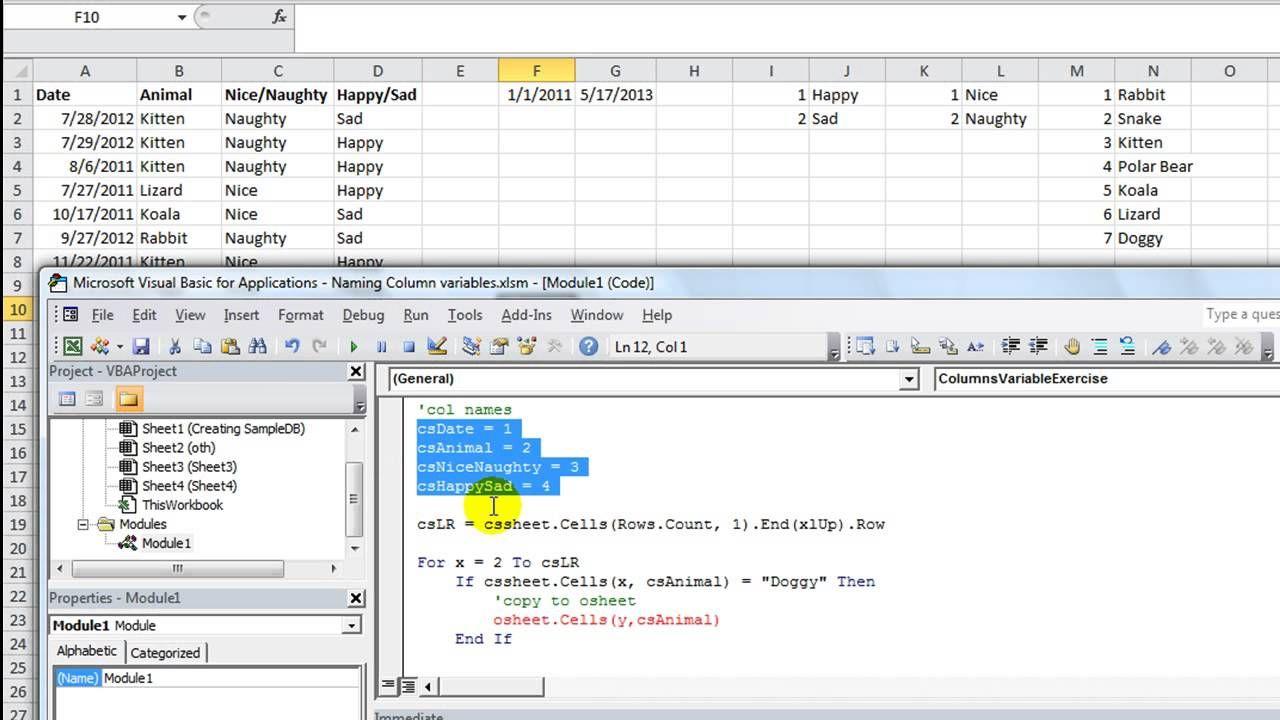 Excel VBA Basics 33 Importance of Naming Column Variables