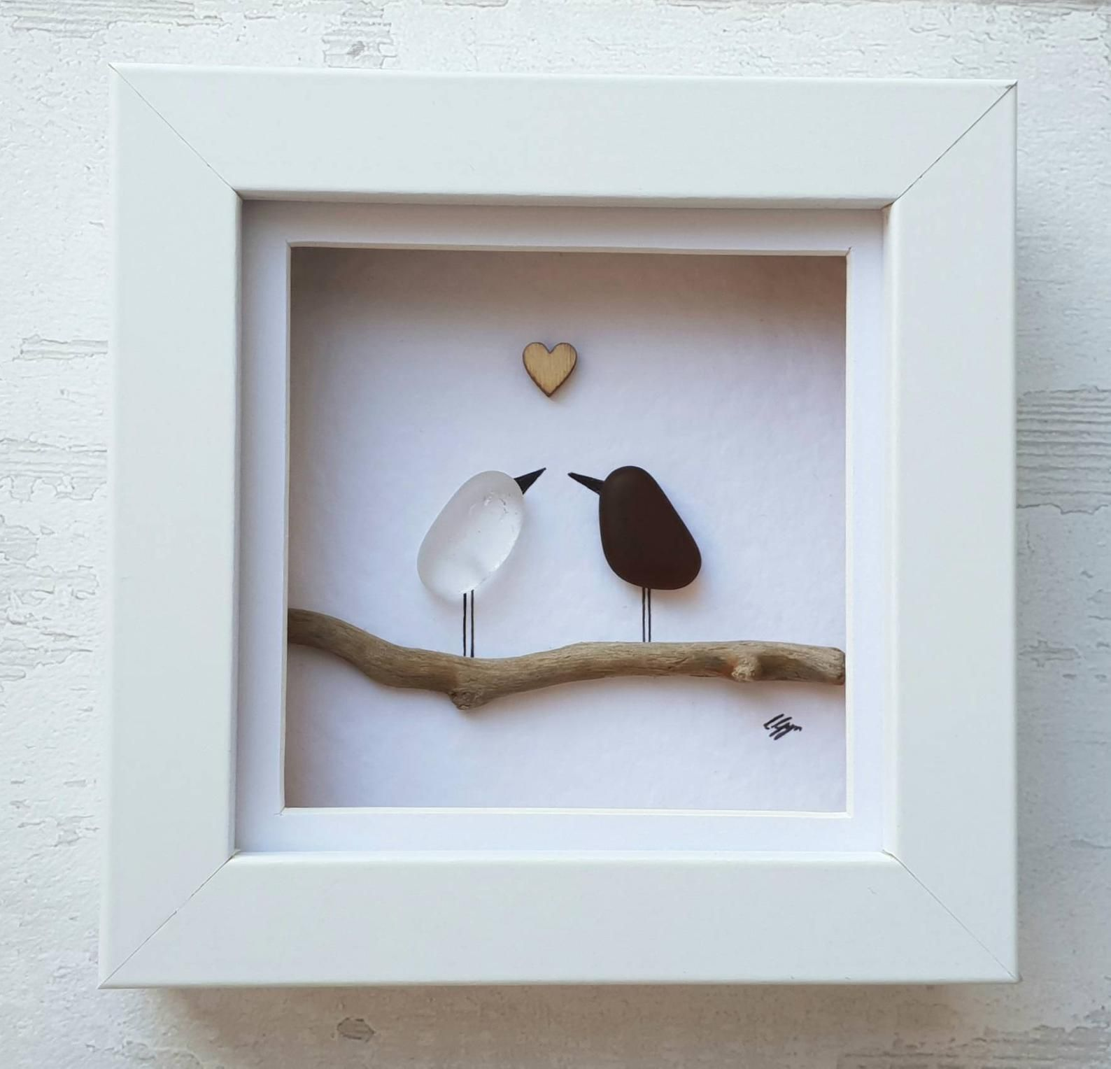Sea glass love birds art unique newlywed gift perfect