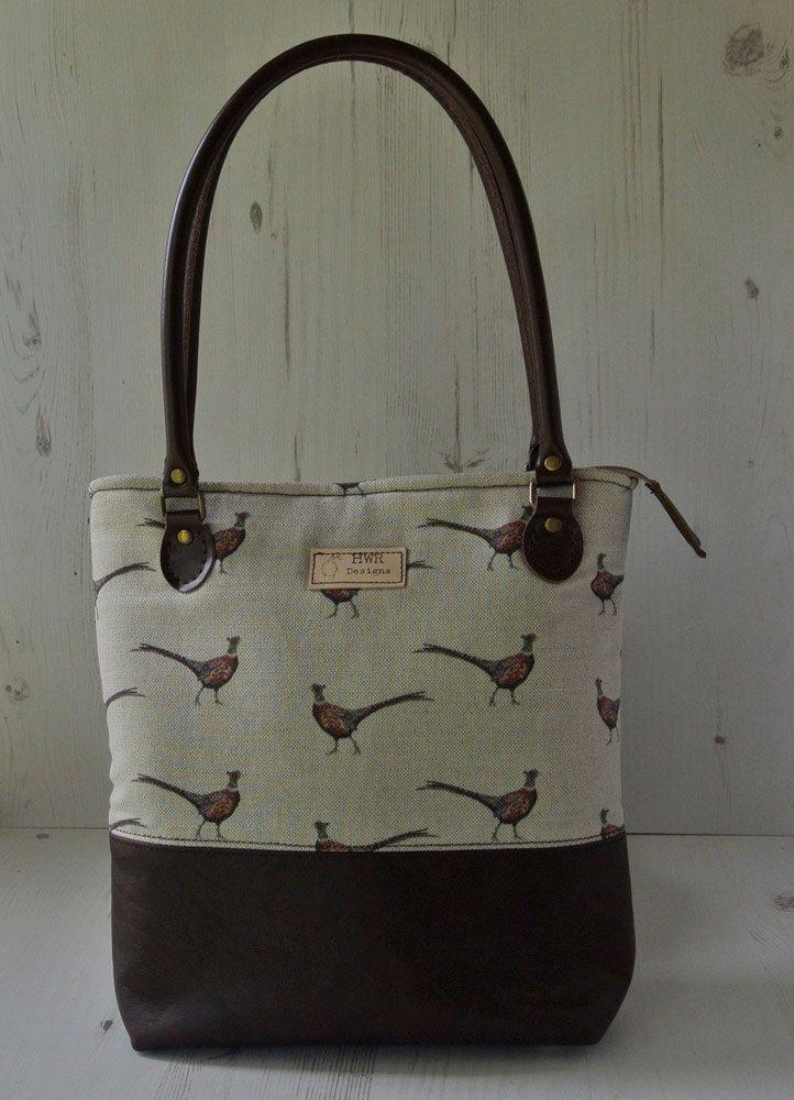 Leather And Linen Handbag Pheasant Purse Shoulder Bag
