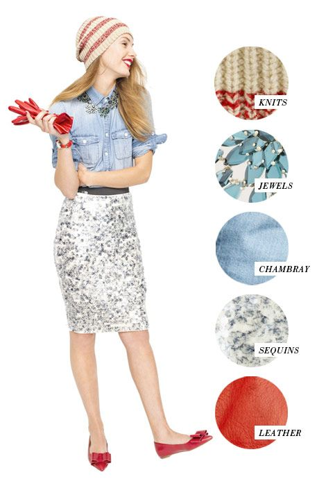lessons in layering:  knits, jewels, chambray, sequins, and leather
