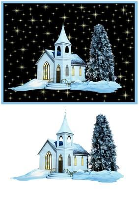 Church at Night  on Craftsuprint designed by Gail Collins - a pretty church on a…