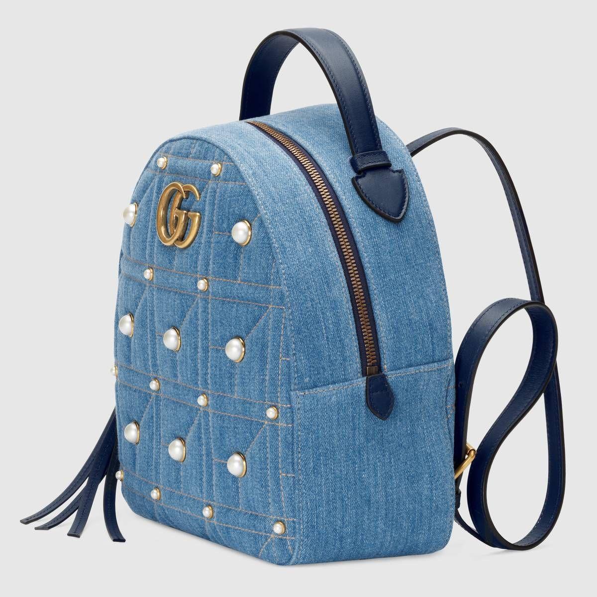 1be2a41ca Gucci Mochila GG Marmont de Denim Matelassé Detail 2 | mochilas ...