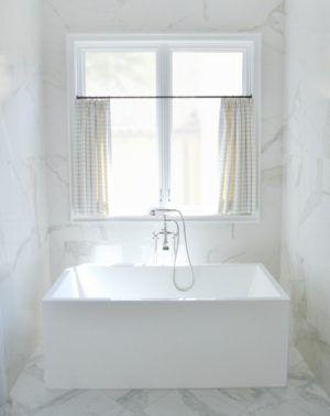 In Good Taste Jenkins Interiors Design Chic Bathroom Window Treatments Cafe Curtains Bathroom Windows