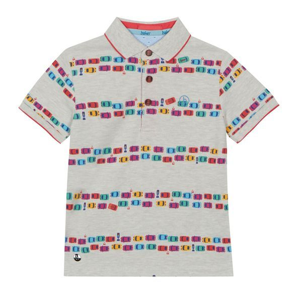 2ccfc822eddfcf Baker by Ted Baker Boys  grey car print polo shirt