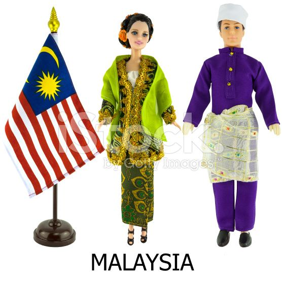 Malaysia National Dress For Man And Woman Worn On Dolls And The