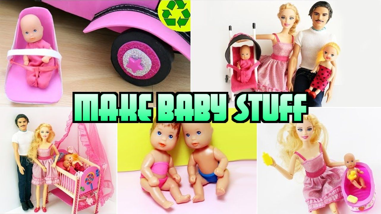 Compilation 5 Barbie Baby Crafts [Diaper,Bathtub,Crib,Car