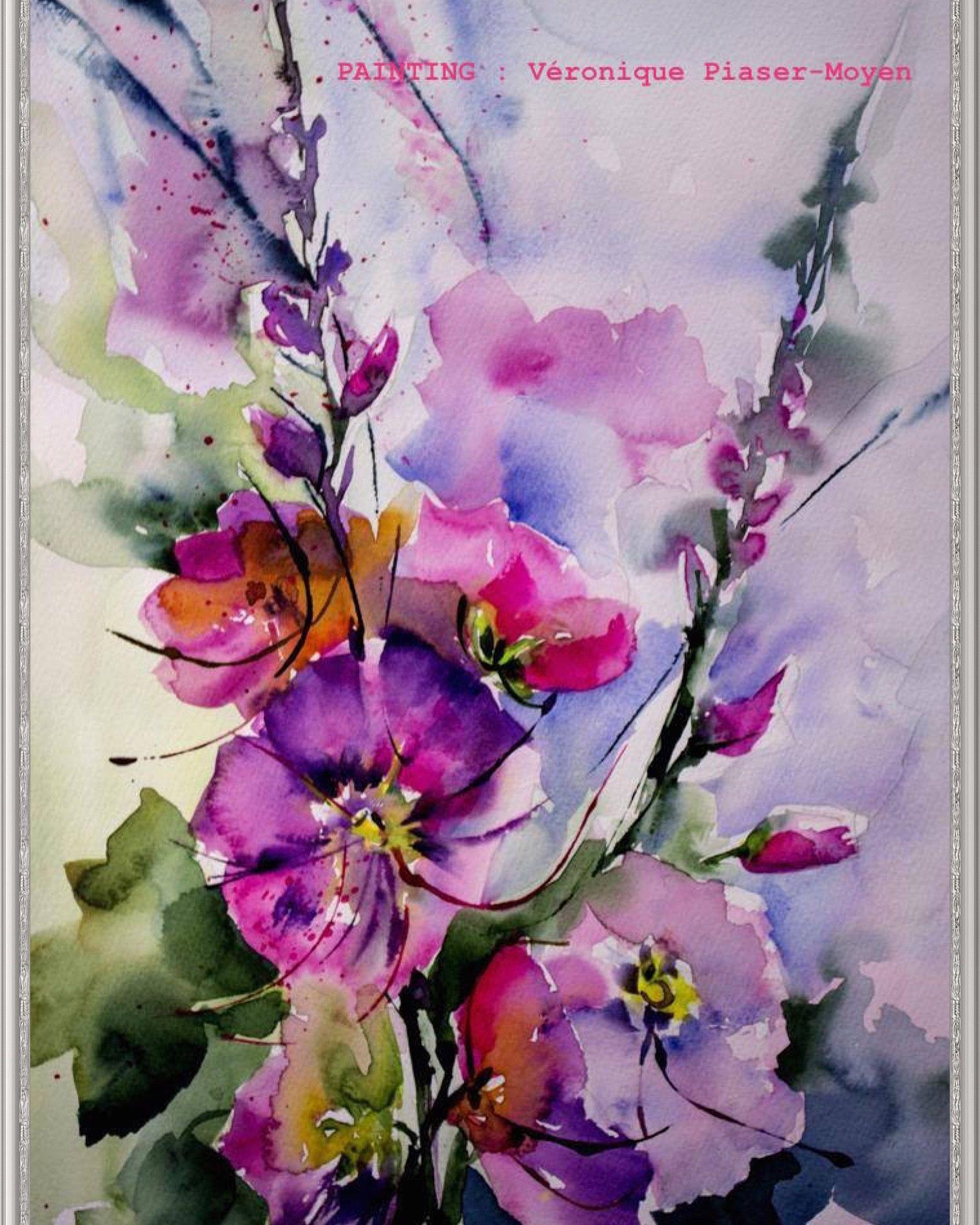 watercolor paintings of flowers - 697×1000