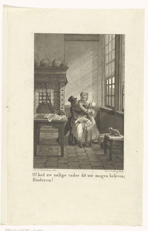 antonie van der beek interieur met moeder die haar twee kinderen in armen sluit