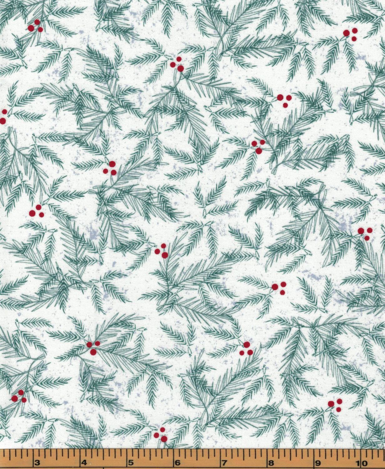 Branches on White Background - Holiday Traditions - Fabric by ... : quality quilting fabric - Adamdwight.com