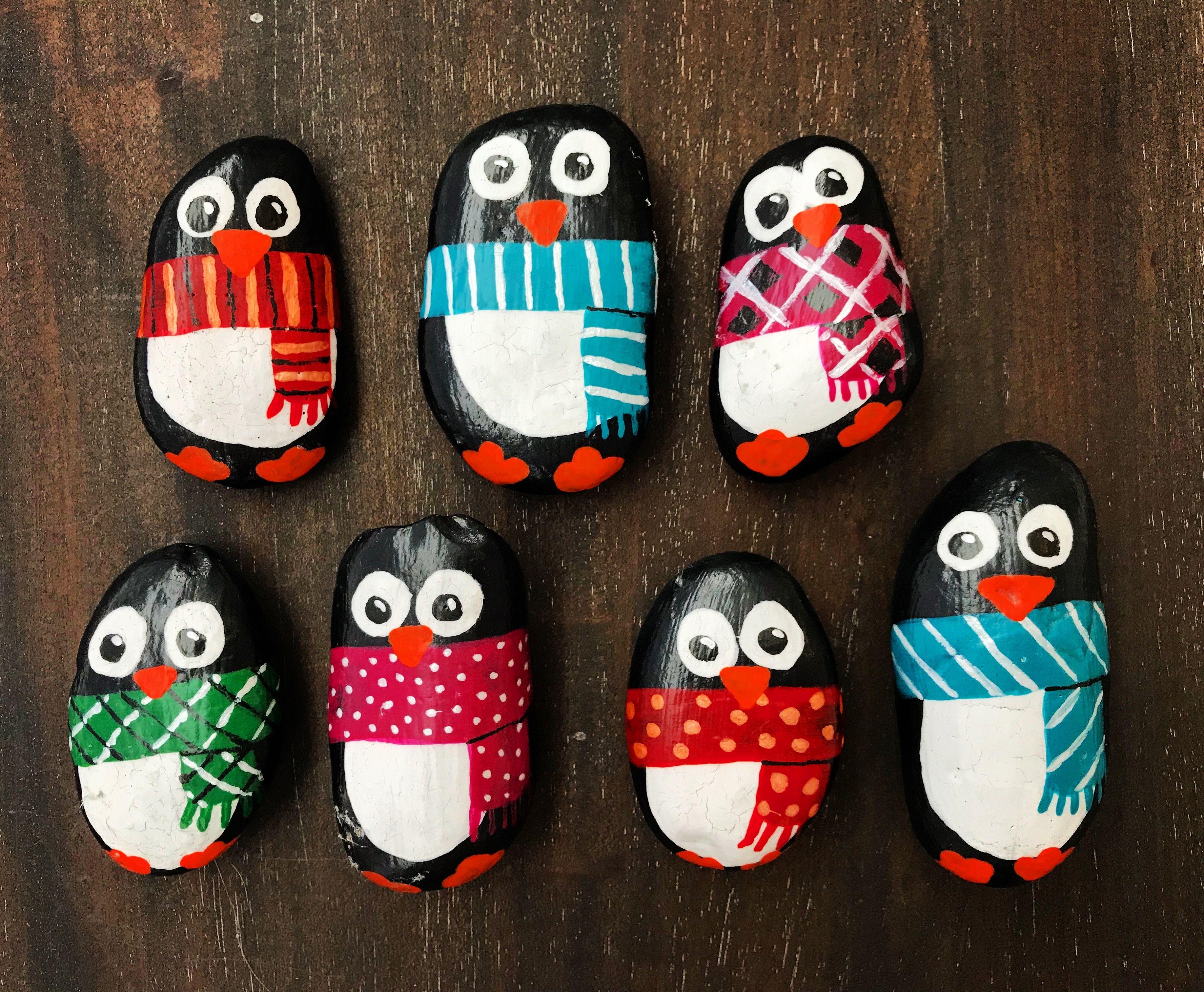 Painted Rocks - penguins - winter rock painting. Christmas rock ...