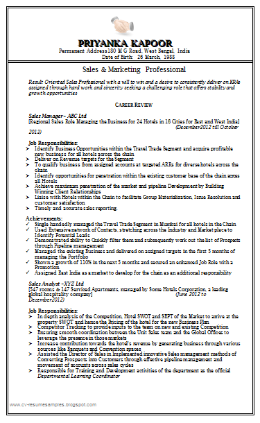Sales Marketing Resume Sample Doc 1