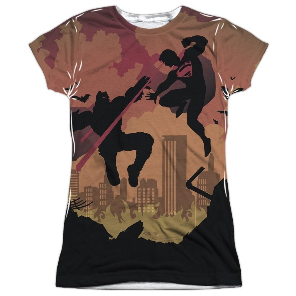 Batman V Superman Silhouette Fight Junior All Over Print 100% Poly T-Shirt