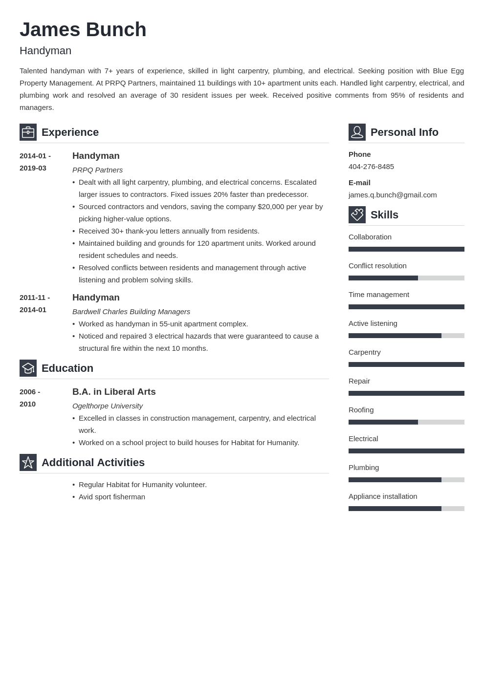 handyman resume example template vibes in 2020 Resume