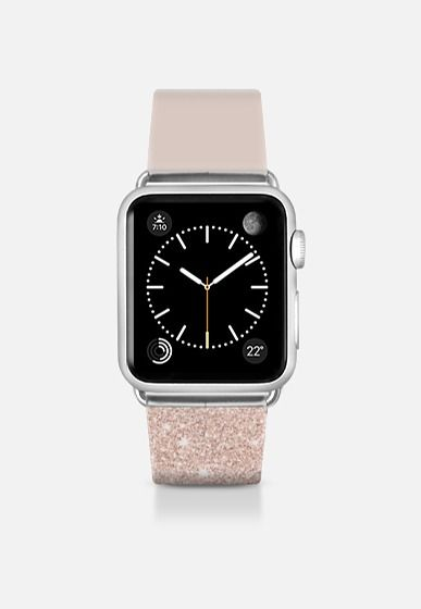 Modern faux rose gold glitter ombre blush pink Apple Watch