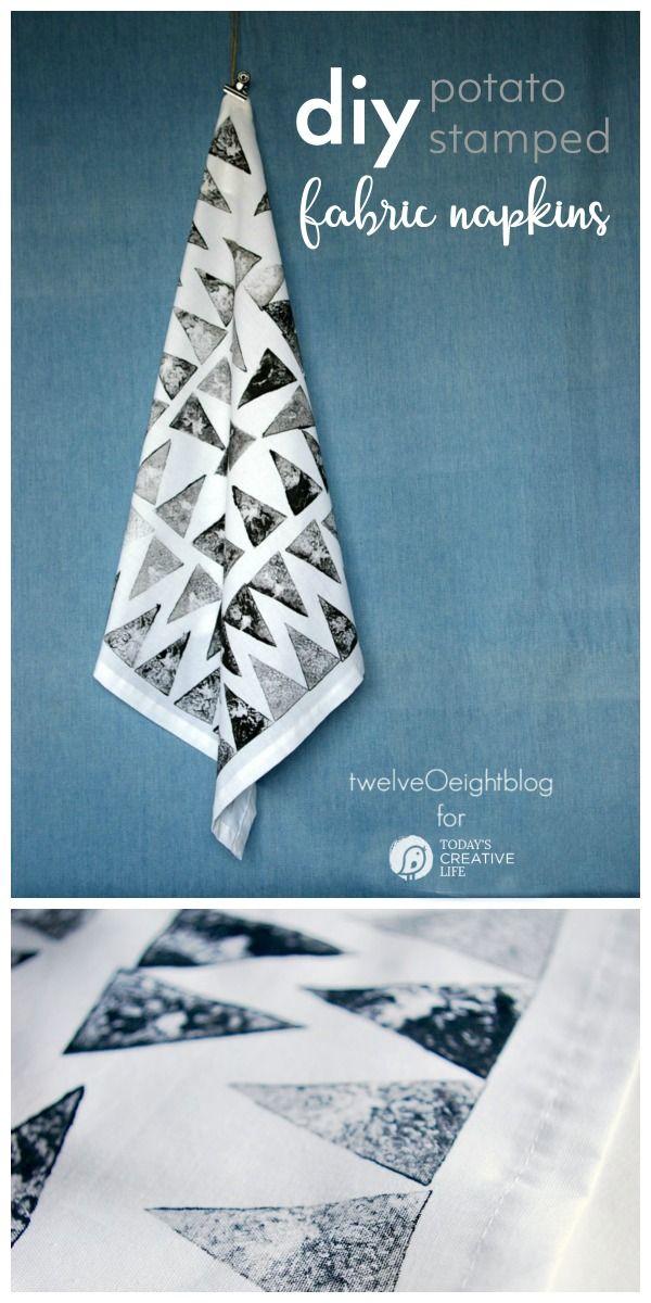 Hand Stamped Cloth Napkins