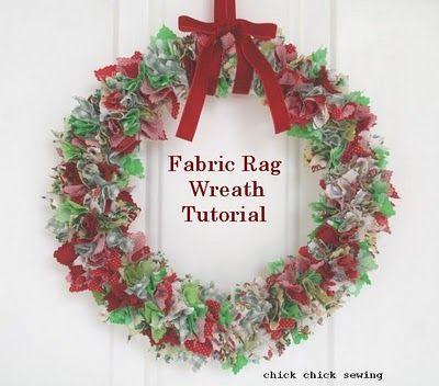 Photo of chick chick sewing: Fabric rag wreath tutorial using styrofoam wreath. -Fabric s…