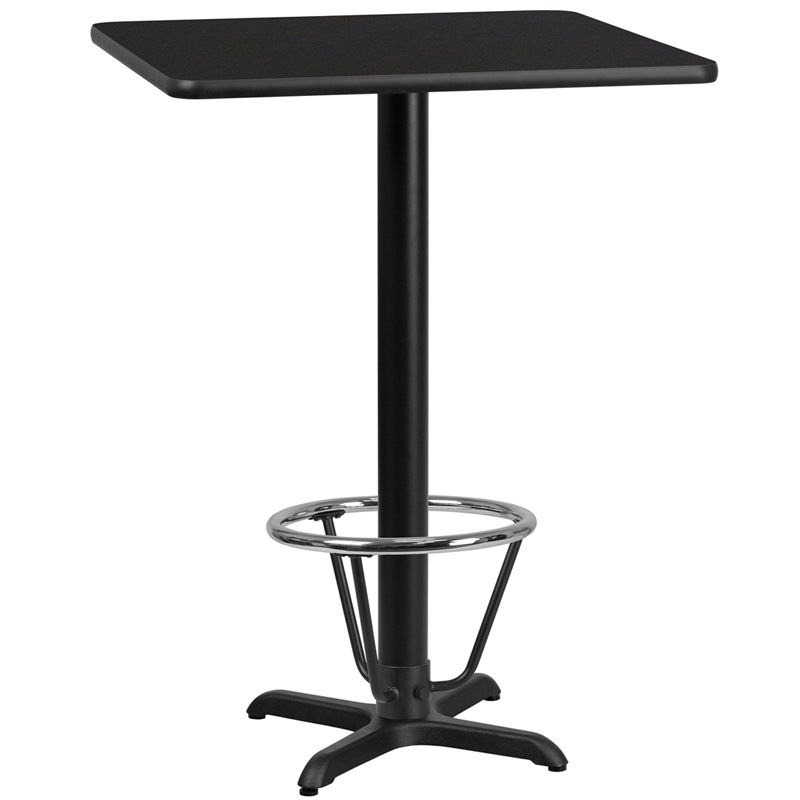 24 Square Black Laminate Table Top With 22 X 22 Bar Height