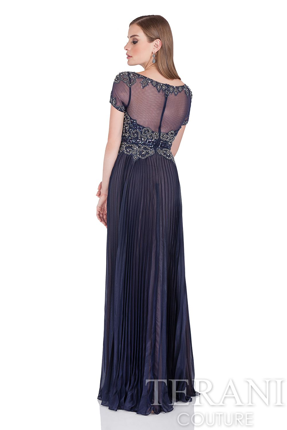 Short sleeve mother of the bride dress with dark sheer sleeves and
