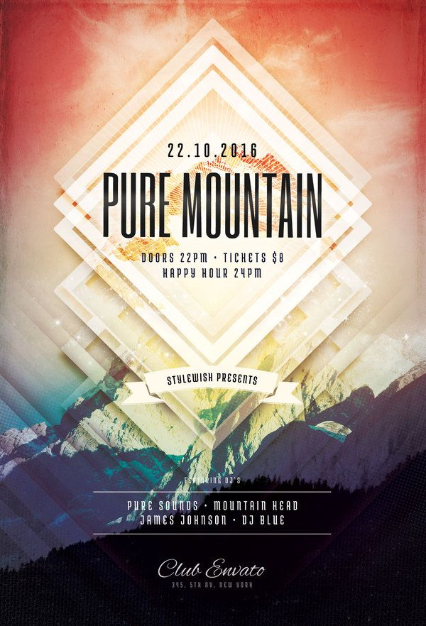 Pure Mountain Flyer Flyer template, Template and Flyer design - geometric flyer template