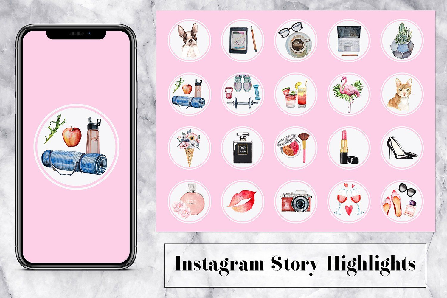 Instagram Story Highlight Icons, Lifestyle Watercolor