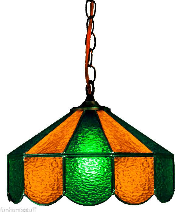 Green Gold 14 Stained Glass Hanging Home Bar Lamp Pub Light Game Table Lamp Lamp Stained Glass Light Games