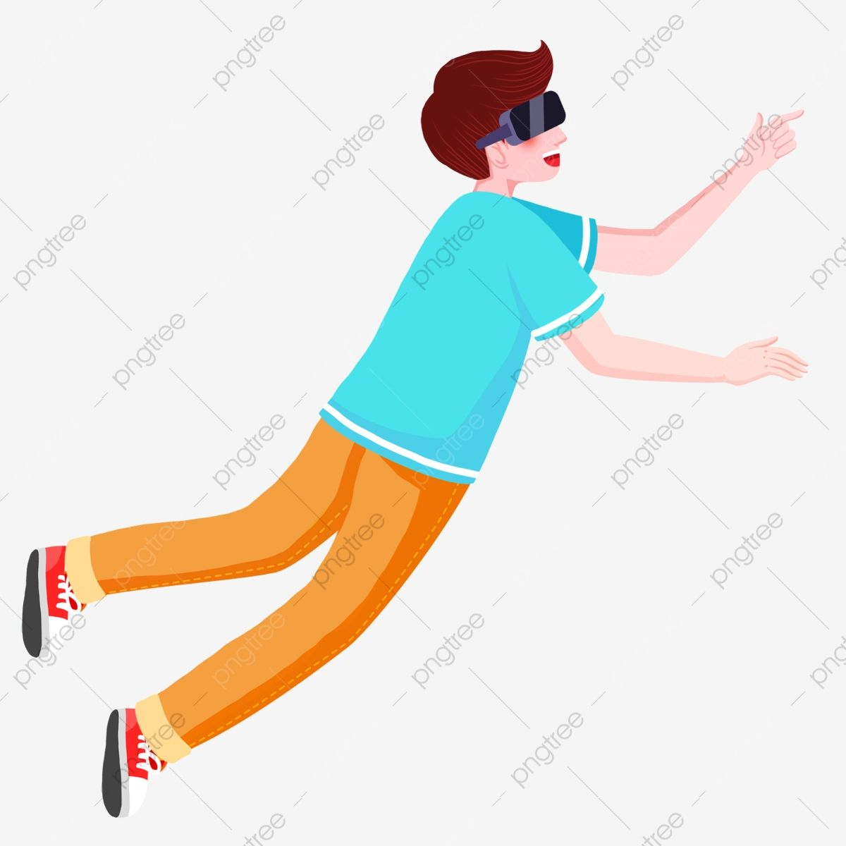 Floating Person Illustration Person Cartoon Funny Illustration Person Drawing