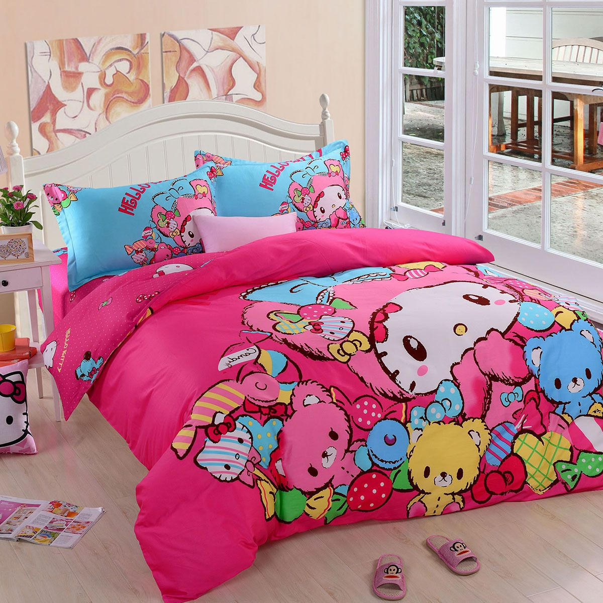 Hello kitty bed set queen size - Kids Hello Kitty Bedding Duvet Quilt Cover Bedding Set Twin Queen Cotton Pink