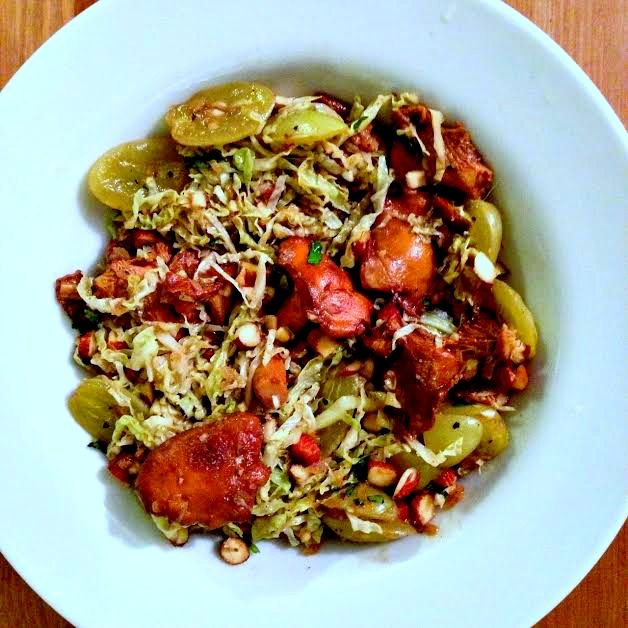 Chanterelle cabbage and nuts