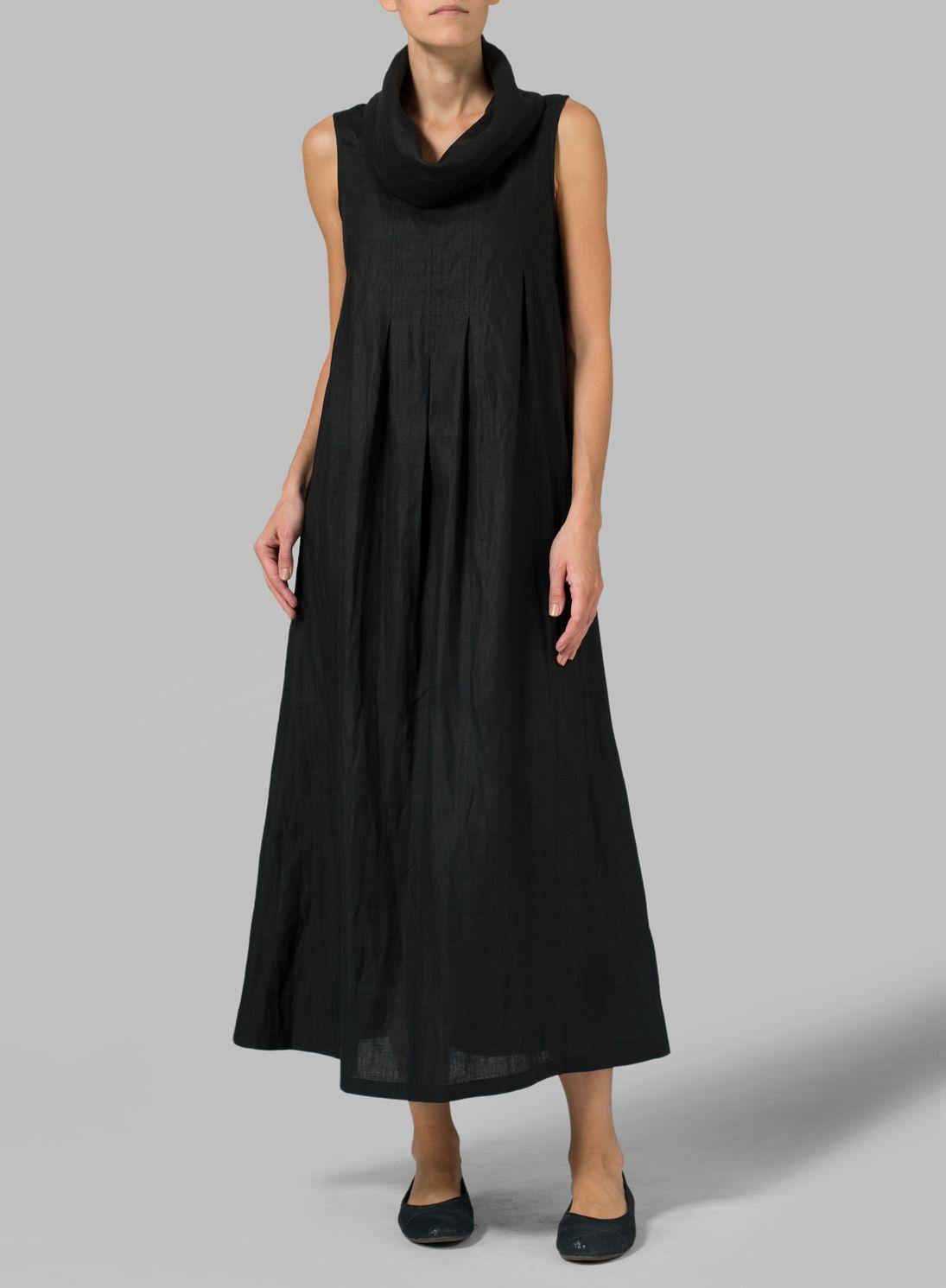 Linen Sleeveless Cowl Neck Long Dress Plus Size EVERLASTING