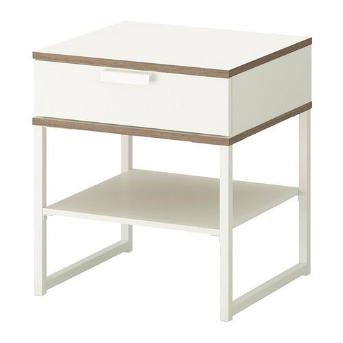 Table Chevet Trysil Blanc Gris Clair Sejour Bedside Table