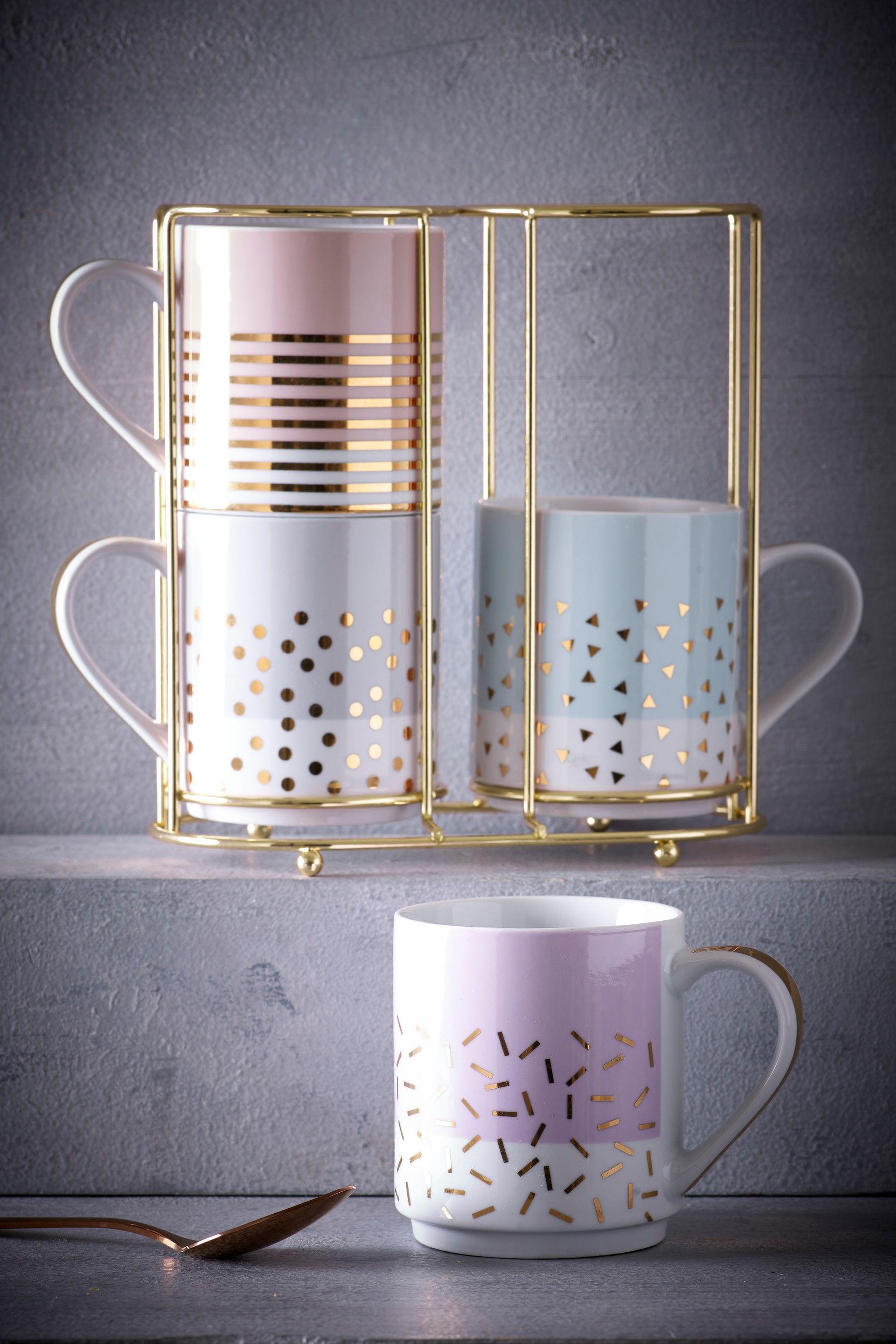 Set Of 4 Confetti Stacking Mugs Em 2020