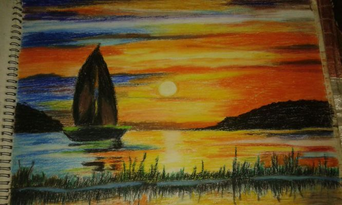 Oil Pastel Color Painting Indian