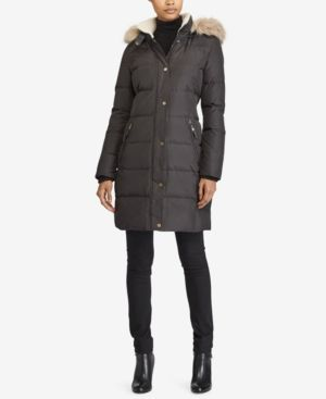 3c38100d0 Lauren Ralph Lauren Petite Faux-Fur-Trim Quilted Puffer Coat - Black ...