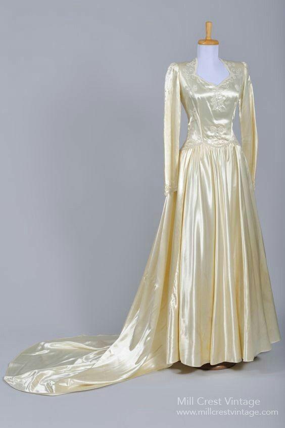 1940 Liquid Silk Vintage Wedding Gown Dresses
