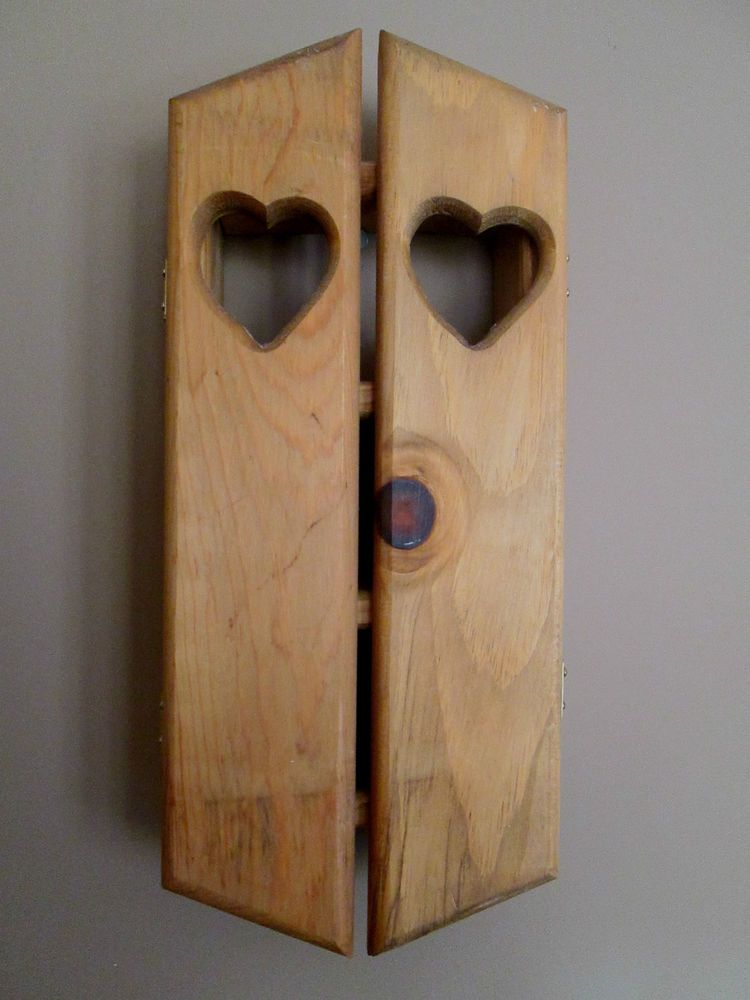 WALL CABINET Solid Wood 4-Shelf - Swing Out Doors Embellished w/ Heart Cut-outs #Unbranded #Country $19.99