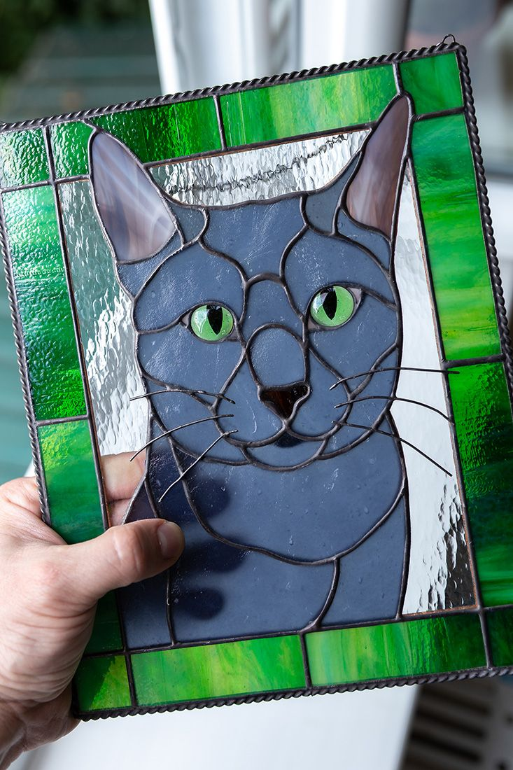 Custom pet portrait made of stained glass - pet loss gifts for cat lover