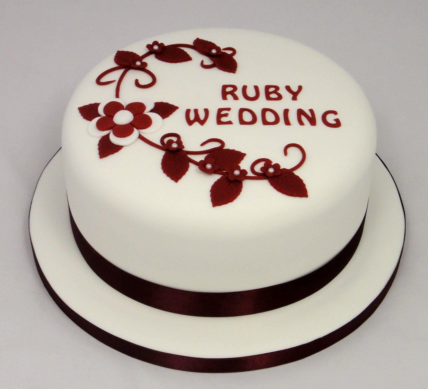 Ruby Wedding Anniversary Cake 07917815712 www