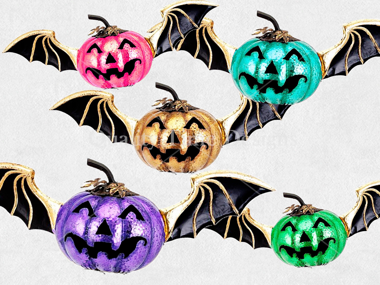 Halloween Clipart Set Flying Pumpkin Bat with Wings Fall ...